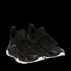 Sneakers nere in lycra con dettaglio effetto mirror, Scarpe, 145019191LYNERO036, 002a