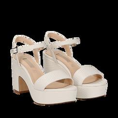 Sandali con plateau bianchi in eco-pelle, tacco 9 cm , Sandali con tacco, 138402256EIBIAN037, 002a