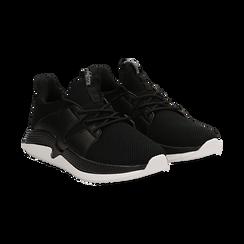 Sneakers nere in tessuto tecnico e suola wave, Scarpe, 132619310TSNERO036, 002 preview