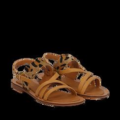 Sandali beige in eco-pelle con dettaglio leopard, Primadonna, 135201203EPBEIG036, 002a