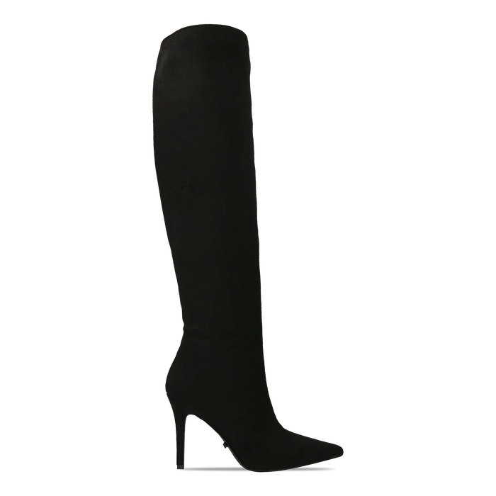 Stivali sopra il ginocchio neri scamosciati, tacco stiletto 10 cm, Primadonna, 122186701MFNERO036