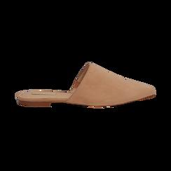 Mules flat nude in microfibra con punta affusolata, Scarpe, 134921861MFNUDE036, 001 preview
