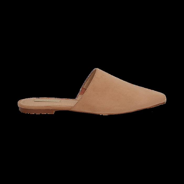 Mules flat nude in microfibra con punta affusolata, Scarpe, 134921861MFNUDE036