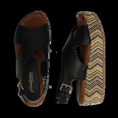 Sandali platform neri in eco-pelle, zeppa intrecciata 5 cm, Primadonna, 132117952EPNERO, 003 preview