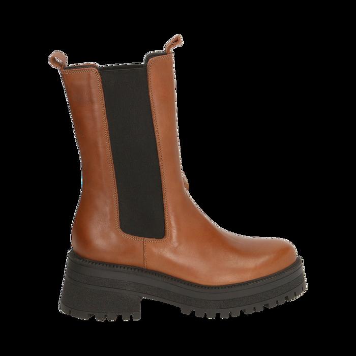 Chelsea boots marroni in pelle di vitello , Primadonna, 168915835VIMARR035