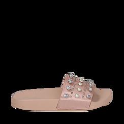Zeppe nude in raso con perle e strass, Primadonna, 112028218RSNUDE035, 001a
