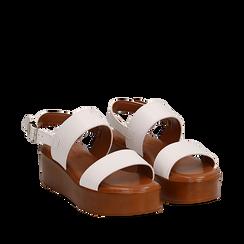 Sandali platform bianchi in eco-pelle, zeppa 5 cm , Saldi Estivi, 13A133254EPBIAN035, 002a