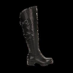 Overknee neri in pelle di vitello, tacco 3,5 cm , Stivali, 14A200150VINERO036, 001a