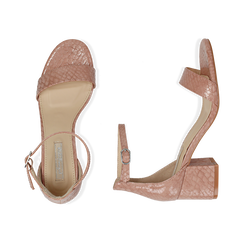 Sandali nude stampa pitone tacco 5,50 cm, OUTLET, 152707031PTNUDE040, 003 preview