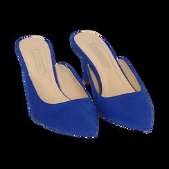 Mules blu cobalto in microfibra, tacco 7,50 cm , Primadonna, 152133675MFBLCO035, 002 preview
