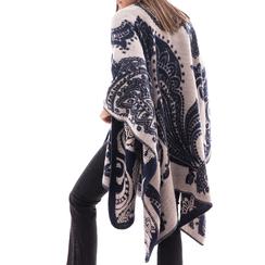 Poncho blu con stampa paisley in tessuto , Abbigliamento, 14B400003TSBLUE3XL, 002a