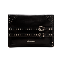 Pochette nera in ecopelle con dobbia fibbia, Primadonna, 122701281EPNEROUNI, 001 preview