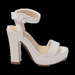 Sandalias en eco-piel color blanco, tacón 12,50 cm , OPORTUNIDADES, 158480410EPBIAN037, 001 preview