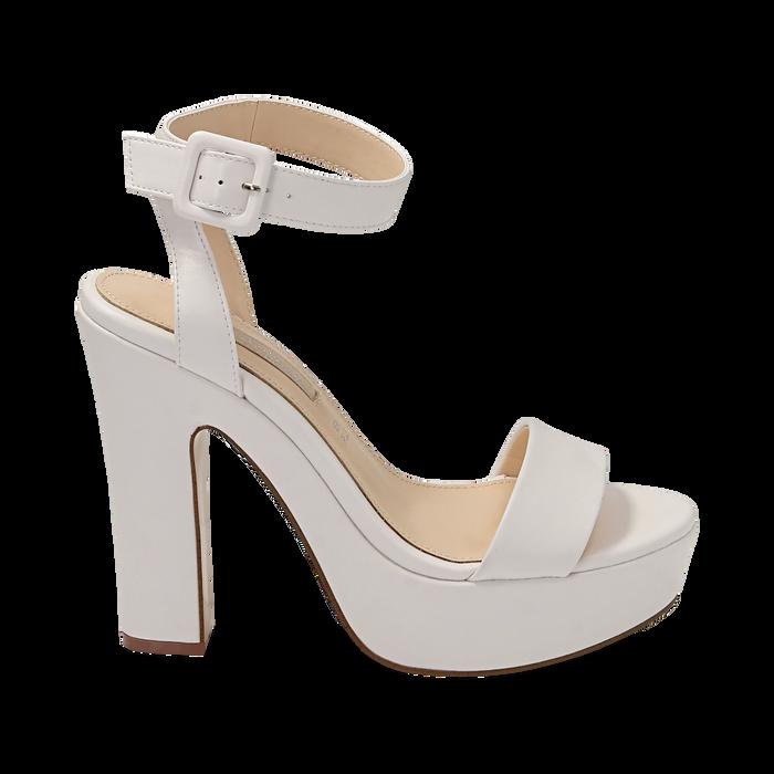Sandalias en eco-piel color blanco, tacón 12,50 cm , OPORTUNIDADES, 158480410EPBIAN037