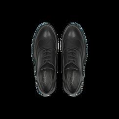 Francesine stringate nere, eco-pelle punzonata, Scarpe, 120618203EPNERO, 004 preview