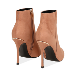 Ankle boots nude in microfibra, tacco 10,5 cm , Scarpe, 142168616MFNUDE035, 004 preview