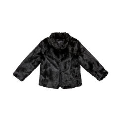 Pelliccia nera corta eco-fur, manica lunga, Saldi, 12B432301FUNERO, 001 preview