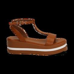 Sandali platform cuoio in eco-pelle, zeppa 5 cm , Primadonna, 132147513EPCUOI036, 001 preview