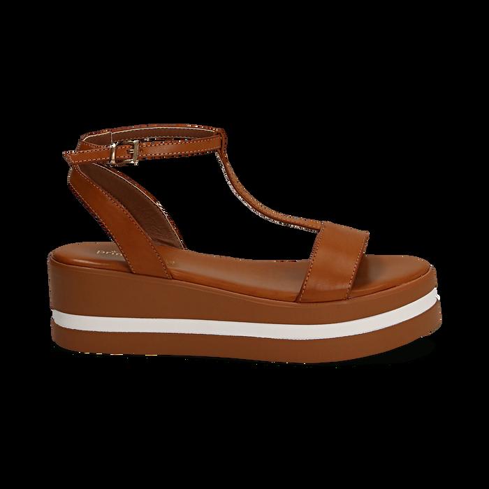 Sandali platform cuoio in eco-pelle, zeppa 5 cm , Primadonna, 132147513EPCUOI036
