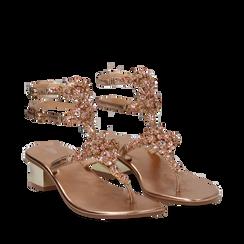 Sandali gioiello infradito rosa in laminato, tacco 6 cm, Primadonna, 134986238LMROSA035, 002a
