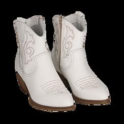 Camperas en piel color blanco, tacón 4 cm, Primadonna, 157732901PEBIAN036, 002 preview