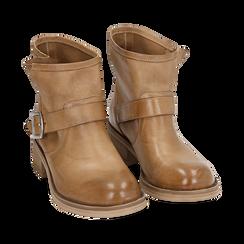 Bottines Biker camel en cuir, Chaussures, 157782014PECUOI039, 002 preview
