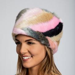 Colbacco multicolore/rosa in eco-pelliccia, Saldi Abbigliamento, 12B413001FUROSA3XL, 002