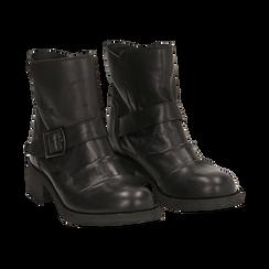 Biker boots neri con fibbia in pelle, tacco 4 cm , Primadonna, 147718215PENERO035, 002 preview
