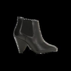 Chelsea Boots neri in vera pelle, tacco a cono 9 cm, Scarpe, 12D613910VINERO, 001 preview