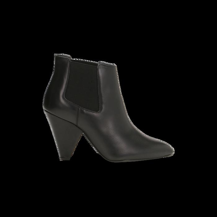 Chelsea Boots neri in vera pelle, tacco a cono 9 cm, Scarpe, 12D613910VINERO