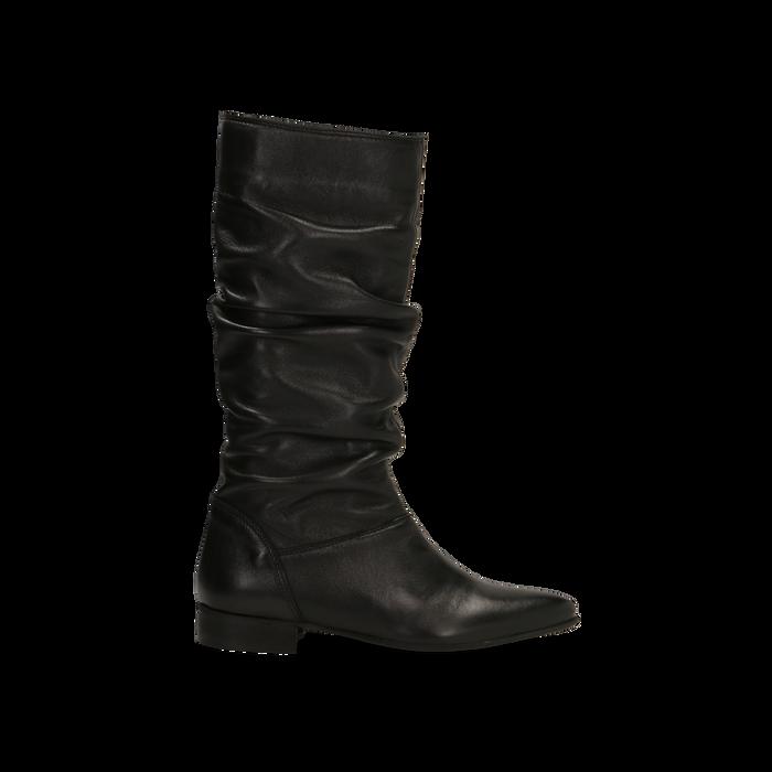super popolare ca41b bfe21 Stivali Neri in vera pelle con gambale morbido, tacco 2,5 cm