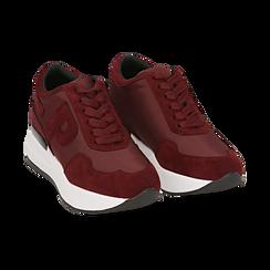 Sneakers bordeaux in tessuto tecnico, suola 5,50 cm , Scarpe, 142898983TSBORD035, 002 preview