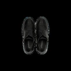 Francesine stringate nera, tacco 4 cm, Scarpe, 120683011EPNERO, 004 preview