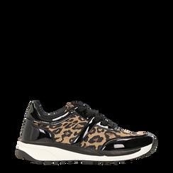 Sneakers leopard dettagli leopard e suola bianca in gomma, 120125906MFLEOP035, 001a