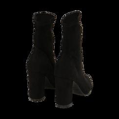 Ankle boots neri in microfibra, tacco 9,50 cm , Primadonna, 163026535MFNERO035, 003 preview