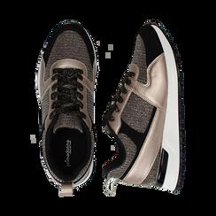 Sneakers oro rosa glitter con dettagli in eco-pelle, Scarpe, 14D814301GLRAOR036, 003 preview