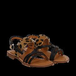 Sandali neri in eco-pelle con dettaglio leopard, Saldi Estivi, 135201203EPNERO035, 002a