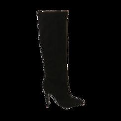 Stivali neri in microfibra, tacco 10,50 cm , Primadonna, 162146862MFNERO039, 001a