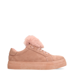 Sneakers nude con pon pon in eco-fur, 121081755MFNUDE036, 001a