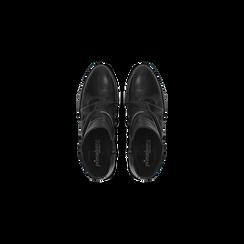 Tronchetti neri in vera pelle con punta tonda western, tacco 3 cm, Primadonna, 128900402VINERO036, 004 preview
