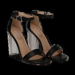 Sandali neri in eco-pelle, tacco plexi 10 cm , Sandali con tacco, 132708221EPNERO036, 002 preview