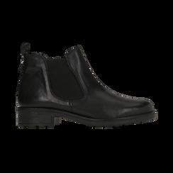 Chelsea Boots neri in vera pelle di vitello, Scarpe, 126905557VINERO, 001 preview