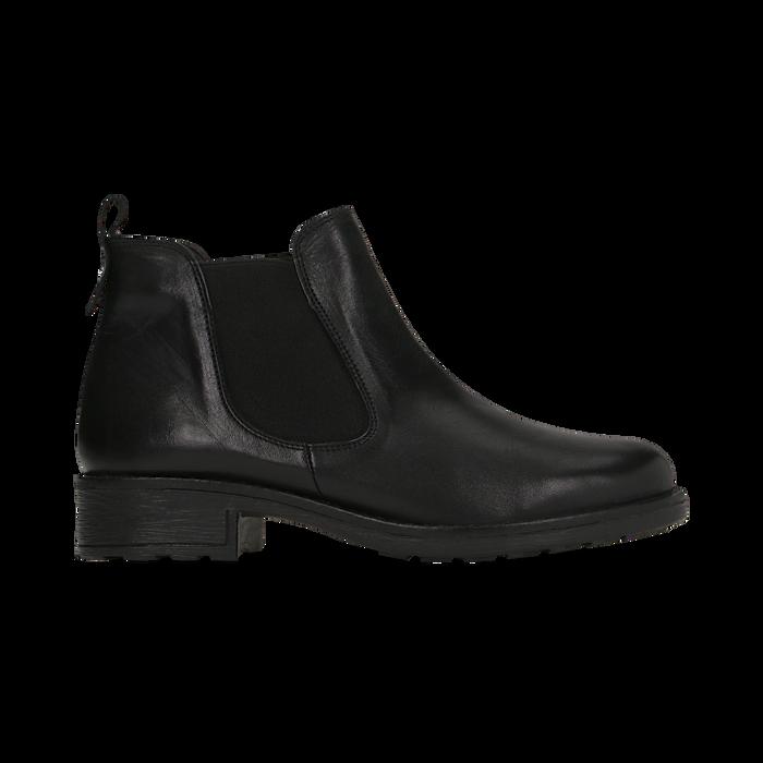 Chelsea Boots neri in vera pelle di vitello, Scarpe, 126905557VINERO