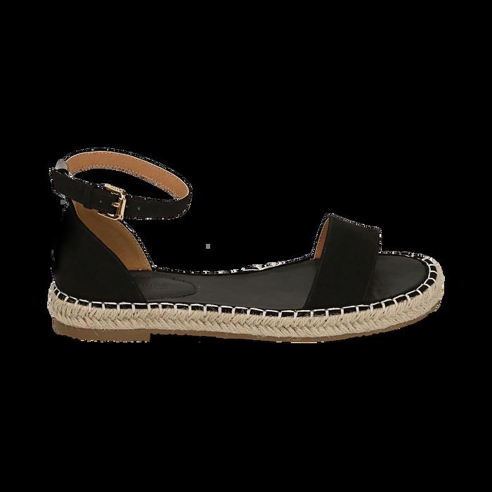 Sandali neri in microfibra, Primadonna, 154913061MFNERO036