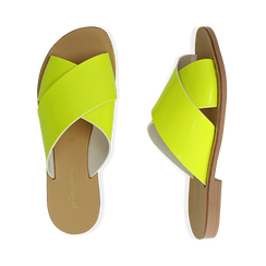 Mules flat gialle in vernice fluo, Primadonna, 136767002VEGIAL036, 003 preview