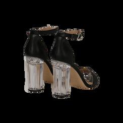 Sandali neri in eco-pelle, tacco plexi 10 cm , Sandali con tacco, 132708221EPNERO036, 004 preview