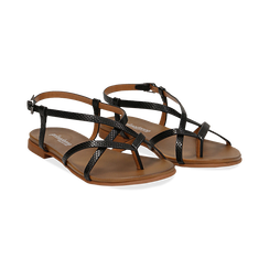 Sandali infradito neri in eco-pelle, con dettagli snake skin,