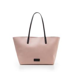 Maxi-bag rosa in eco-pelle con manici neri, Borse, 133783134EPROSAUNI, 001a