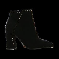 Tronchetti neri con mini-borchie, tacco 9 cm, Scarpe, 120381110MFNERO, 001 preview
