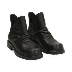 Biker boots flat neri in eco-pelle, Stivaletti, 140701515EPNERO036, 002 preview